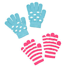 Buy John Lewis Girl Stripe and Spot Gloves, Pack of 2, Multi Online at johnlewis.com