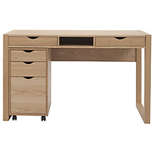 Buy John Lewis Logan Desk and Loft Cabinet Set, Oak Online at johnlewis.com