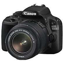 "Buy Canon EOS 100D Digital SLR Camera with 18-55mm Lens, HD 1080p, 18MP, 3"" LCD Touch Screen + FREE Canon 100EG Padded Camera & Gadget Bag Online at johnlewis.com"
