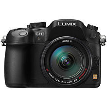 "Buy Panasonic Lumix DMC-GH3 Compact System Camera with 12-35mm Power OIS Lens, HD 1080p, 16.05MP, Wi-Fi, 3"" OLED Screen and EVF with 16GB + 8GB Memory Card Online at johnlewis.com"