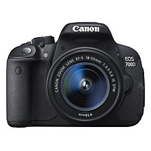 "Buy Canon EOS 700D Digital SLR Camera with 18-55mm STM Lens, HD 1080p, 18MP, 3"" LCD Touch Screen with 16GB + 8GB Memory Card Online at johnlewis.com"