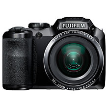 "Buy Fujifilm FinePix S4800, Bridge Camera, HD 720p, 16MP, 30x Optical Zoom, with 3"" LCD Screen, Black with 16GB + 8GB Memory Card Online at johnlewis.com"