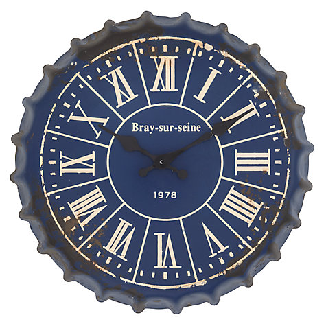 Buy John Lewis Bottle Top Wall Clock, Blue Online at johnlewis.com