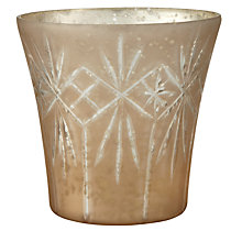 Buy John Lewis Etched Glass Tealight Holder, Pearl Online at johnlewis.com
