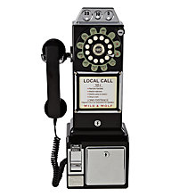 Buy Wild & Wolf 1950s Diner Phone, Black Online at johnlewis.com