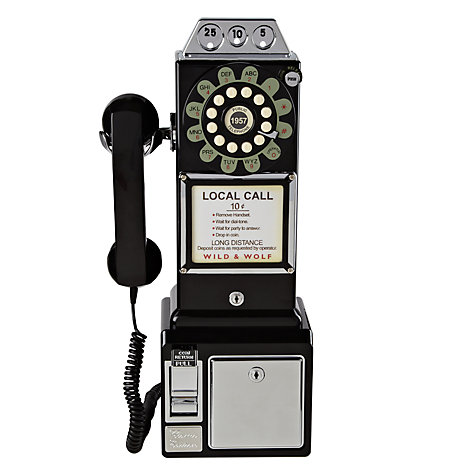 Buy Wild & Wolf 1950's Diner Phone, Black Online at johnlewis.com
