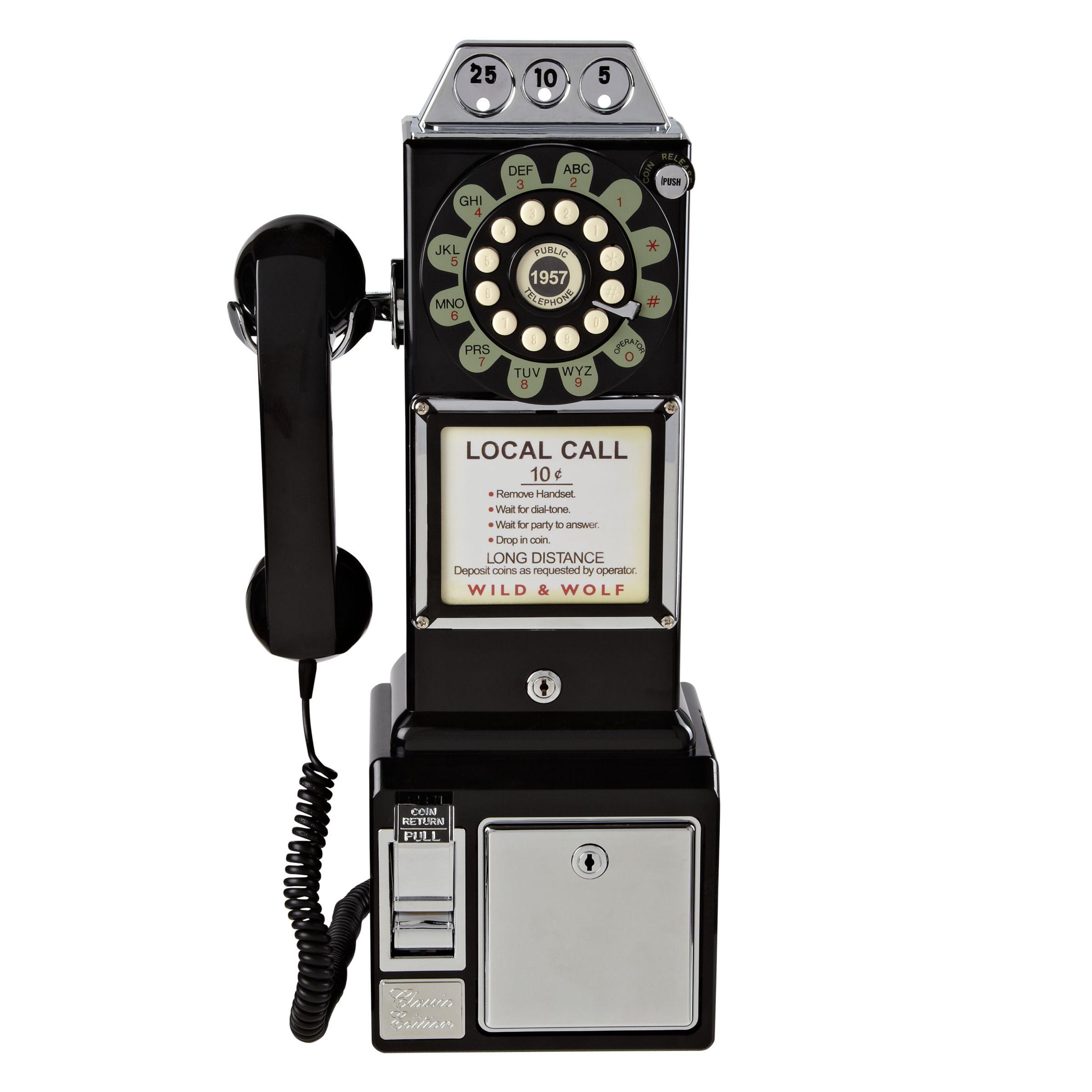 Wild & Wolf Wild & Wolf 1950s Diner Phone, Black