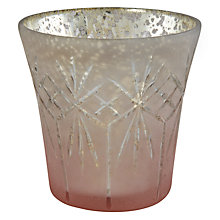 Buy John Lewis Etched Glass Tealight Holder, Blush Online at johnlewis.com