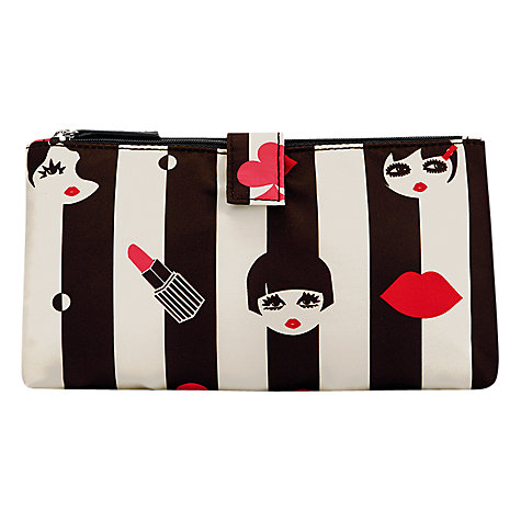 Buy Lulu Guinness Doll Face Icon Double Makeup Bag, Black/White Online at johnlewis.com