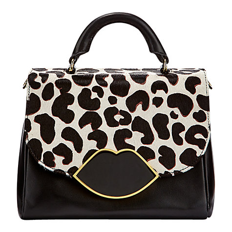 Buy Lulu Guinness Small Izzy Satchel, Black/White Online at johnlewis.com