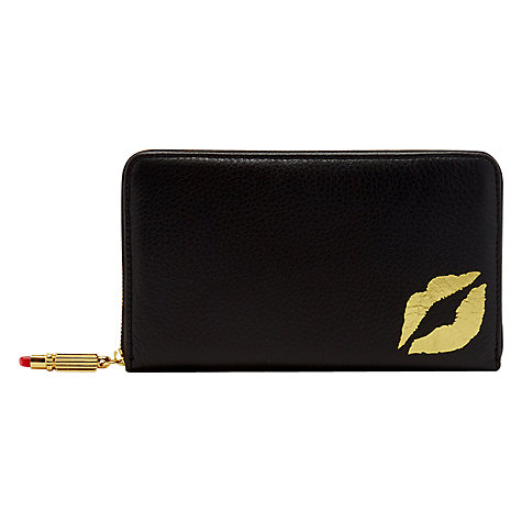 Buy Lulu Guinness Lip Blot Continental Wallet, Black Online at johnlewis.com