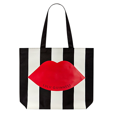 Buy Lulu Guinness Stripe Tote Bag, Black/White Online at johnlewis.com