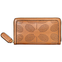 Buy Orla Kiely Sixties Stem Punched Leather Purse, Tan Online at johnlewis.com