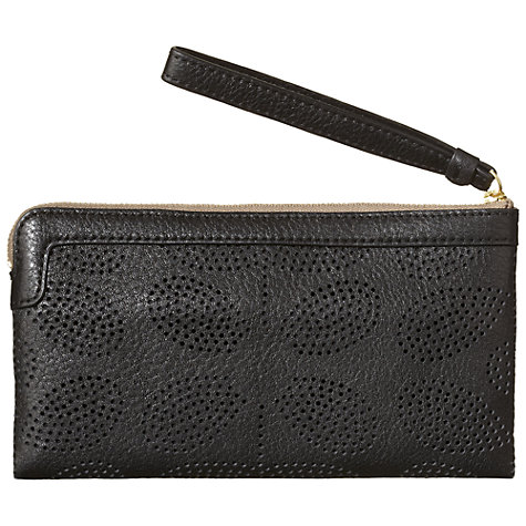 Buy Orla Kiely Sixties Stem Punched Leather Flat Zip Purse, Black Online at johnlewis.com