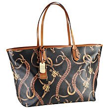 Buy Lauren by Ralph Lauren Caldwell Classic Tote Bag, Black/Tan Equestrian Online at johnlewis.com