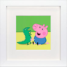 Buy Astley Baker Davies - Peppa Pig George Dinosaur Sitting Framed Print, 23 x 23cm Online at johnlewis.com
