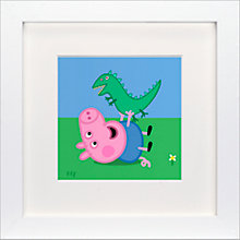Buy Astley Baker Davies - Peppa Pig George and Dinosaur Lying Framed Print, 23 x 23cm Online at johnlewis.com