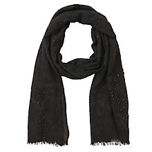 Buy John Lewis Basque Stitch and Sequin Scarf, Black Online at johnlewis.com