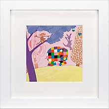 Buy David Mckee - Elmer the Elephant Framed Print, 23 x 23cm Online at johnlewis.com