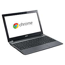 "Buy Acer Aspire C710 Chromebook, Intel Celeron 847, 2GB RAM, 320GB, 11.6"", Grey Online at johnlewis.com"