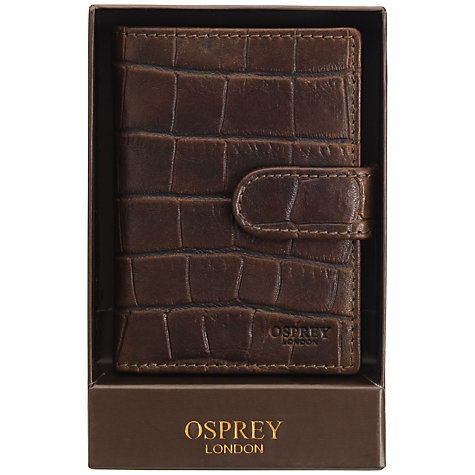 Buy OSPREY LONDON Croc Leather Credit Card Holder, Brown Online at johnlewis.com