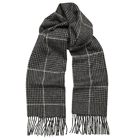 Buy John Lewis Wool Dogtooth Check Wool Scarf, Grey Online at johnlewis.com