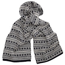Buy JOHN LEWIS & Co. Reversible Fair Isle Scarf, Black/White Online at johnlewis.com