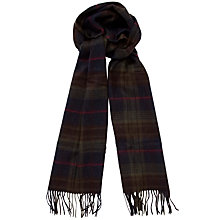 Buy Barbour Brignall Check Lambswool Scarf, Olive/Brown Online at johnlewis.com