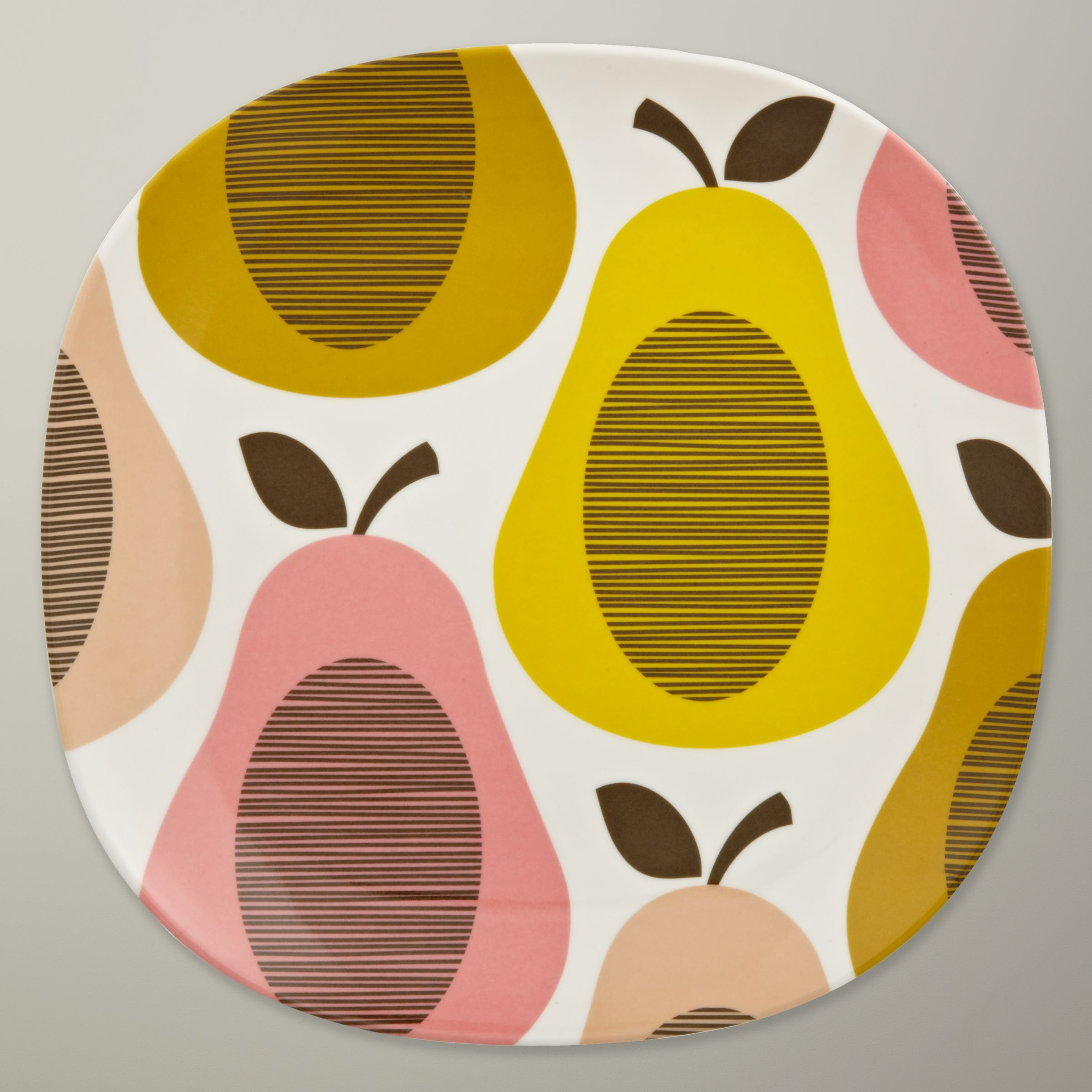 Orla Kiely Pear Melamine Side Plate, Candy Floss