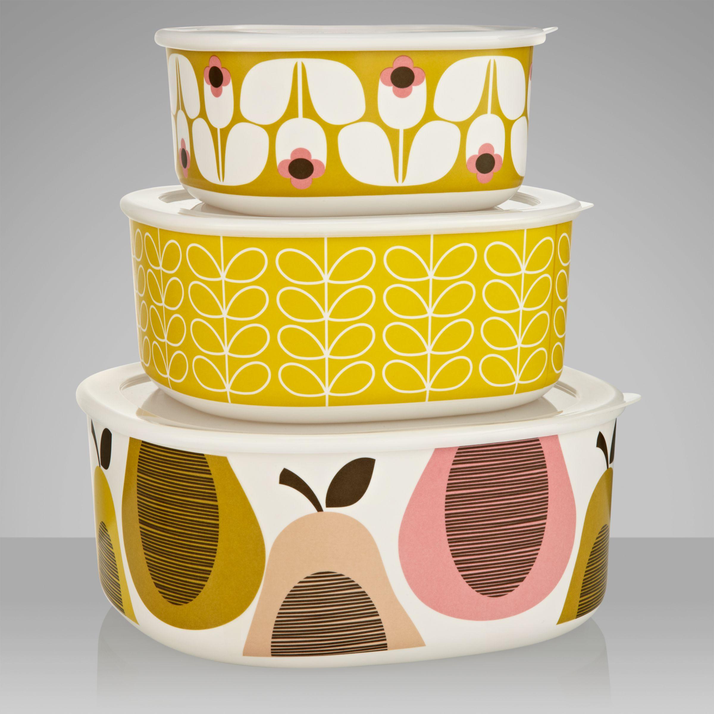Orla Kiely Pear Melamine Picnic Bowls, Multi, Set of 3