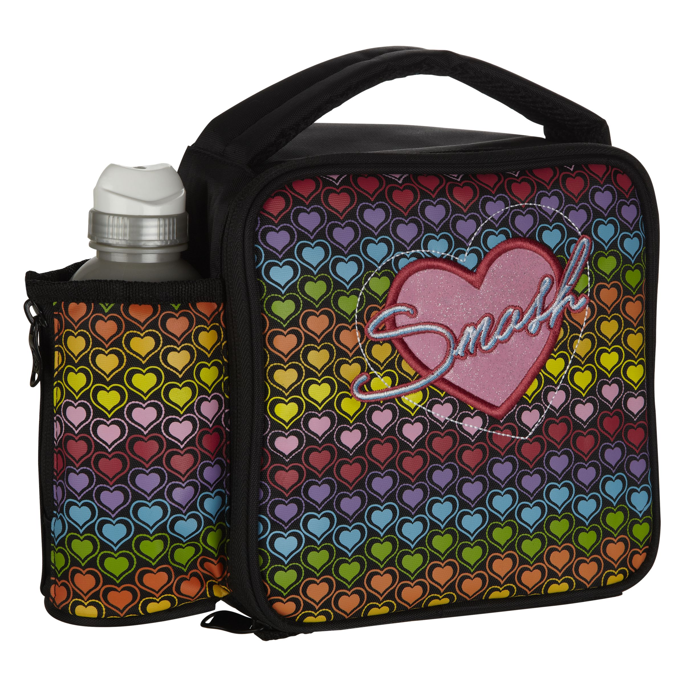 Smash Neon Heart Lunch Bag and Bottle, Black
