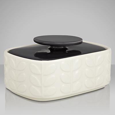 Orla Kiely Raised Stem Butter Dish, Cream/Charcoal