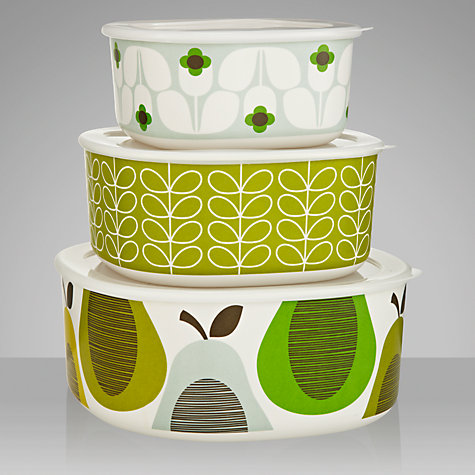 Buy Orla Kiely Melamine Bowls, Pear Mint, Set of 3 Online at johnlewis.com