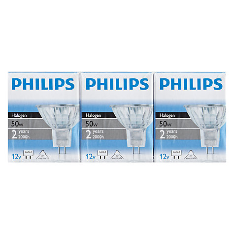Buy Philips 50W MR16 Reflector Bulb, Pack of 3 Online at johnlewis.com