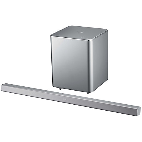 Buy Samsung HW-F551 2.1 Bluetooth Sound Bar with Wireless Subwoofer, Silver Online at johnlewis.com