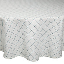 Buy John Lewis Rural Check Round Tablecloth, Dia.180cm, Cream/ Green Online at johnlewis.com