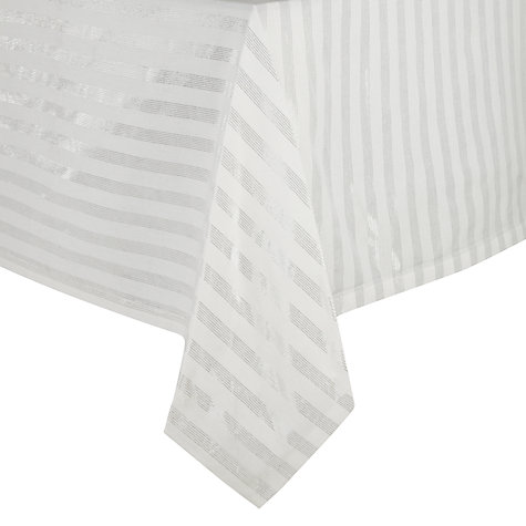 Buy John Lewis Sparkle Tablecloth, Silver/White Online at johnlewis.com
