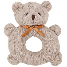 Buy John Lewis Cable Knit Bear Rattle, Brown Online at johnlewis.com