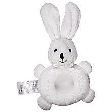 Buy John Lewis Knitted Rabbit Rattle, White Online at johnlewis.com