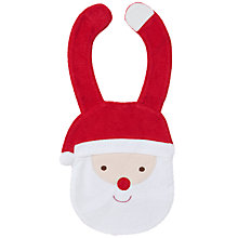 Buy John Lewis Baby Father Christmas Bib, Red Online at johnlewis.com