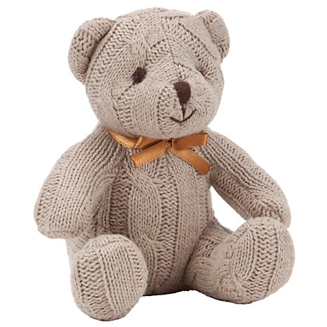 Buy John Lewis Cable Knit Bear, Brown Online at johnlewis.com