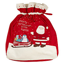 Buy John Lewis Baby Christmas Sack, Red Online at johnlewis.com