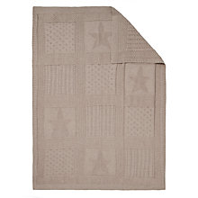 Buy John Lewis Intarsia Knitted Baby Blanket, Light Brown Online at johnlewis.com