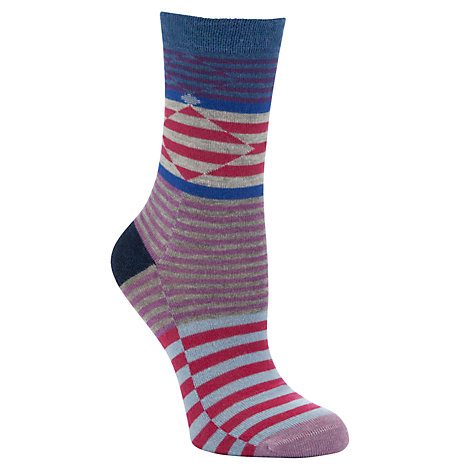 Buy John Lewis Viscose Mix Diamond  & Striped Print Ankle Socks Online at johnlewis.com