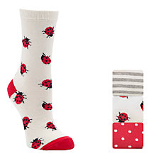 Buy John Lewis Ladybug Ankle Socks, Pack Of 3, Multi Online at johnlewis.com