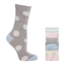 Buy John Lewis Multi Pattern Ankle Socks, Pack of 3, Ecru/Pink Online at johnlewis.com