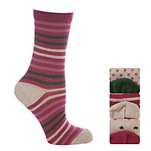 Buy John Lewis Cotton Hearts and Stripes Ankle Socks, Pack of 3, Pink Online at johnlewis.com