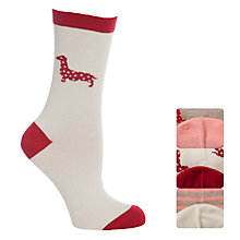 Buy John Lewis Cotton Dog and Spot Ankle Socks, Pack of 3, Biscuit Online at johnlewis.com