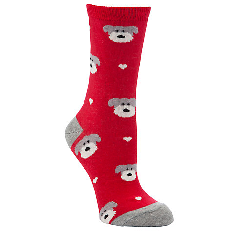 Buy John Lewis Xmas Bauble Dog Cotton Ankle Socks, Red Online at johnlewis.com