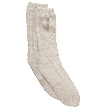 Buy John Lewis Knitted Pom Pom Slipper Socks Online at johnlewis.com